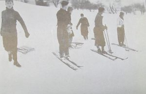 Photograph of skiing and sledging during winter at Ampleforth, 1939/40.
