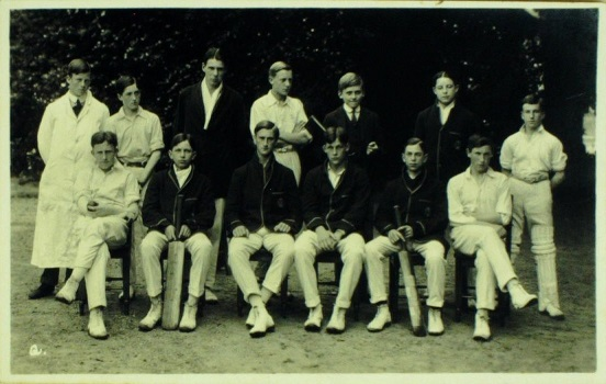 Photograph of Bootham School 1st XI, 1912. A R Deane front row, third from left.