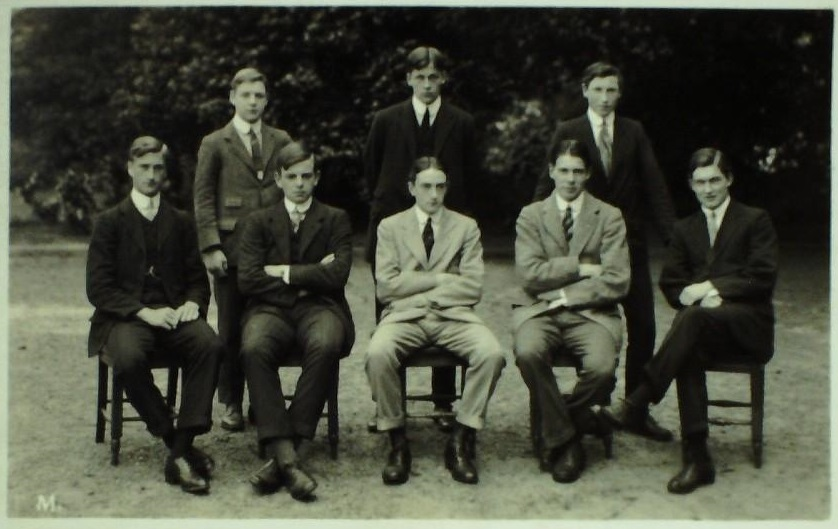 Photograph of Bootham School Reeves 1912. L E Rowntree far right, seated.