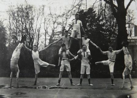 Photograph of Gymnastics display at the Belgian Bazaar.