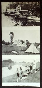 Photographs from the School Camp, 1915. Boats, tents and by the river.