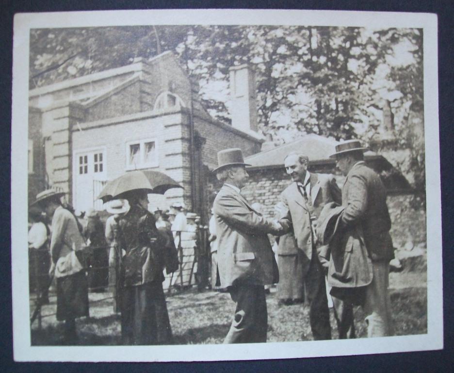 Photograph from 1914. Silvanus P. Thompson greets Arthur Rowntree (Headmaster).