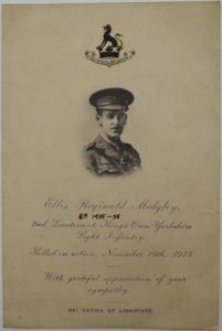 Sympathy reply card including photograph of Ellis Reginald Midgley in uniform.