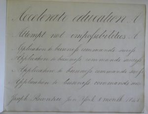 An example of handwriting from Joseph Rowntree, 1848.