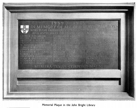 Memorial Plaque 1939-1945 in John Bright Library, Bootham School.